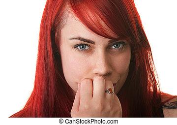 escéptico, mujer, boca, dedos