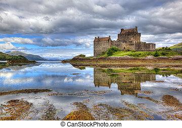 escócia, reino unido, donan, altiplanos, eilean, castelo