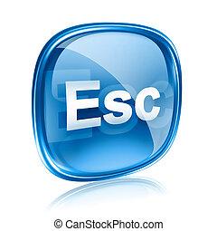 esc, 아이콘, 푸른 글래스, 고립된, 백색 위에서, 배경