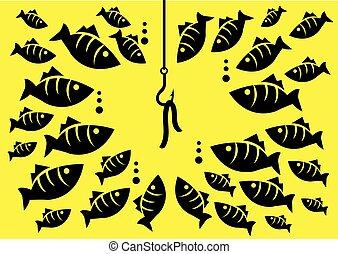 esca, circondare, vettore, illustrazione, gancio, fish, subacqueo
