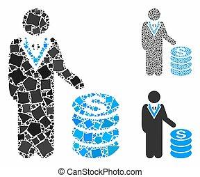 escabroso, icono, hombre de negocios, mosaico, elementos