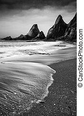 escabroso, litoral, paisaje, rocas, vista marina, dentado