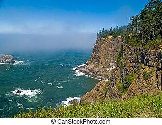 escabroso, rocoso, litoral, en, el, costa de oregón,...
