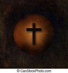 escabroso, viejo, cruz