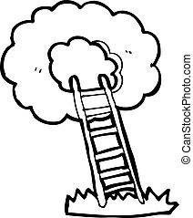 escada, céu, caricatura