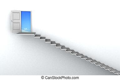escada cima, sucesso, 3d