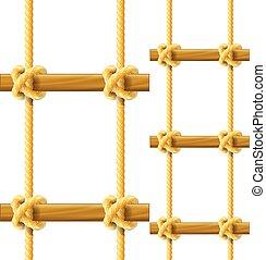 escada corda, penduradas