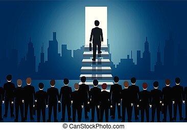 escada, degrau, progresso, passo, alto, passeio, vida, vetorial, sucesso, icon., organization., negócio, homens negócios, leadership., light., porta, job., finance., cima, ilustração