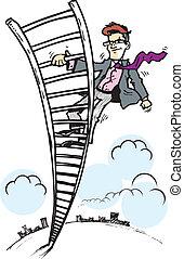 escada, homem negócio