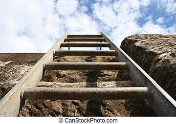 escada, ligado, lado, de, parede