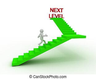 escada, logo, nível