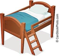 escada, madeira, cama