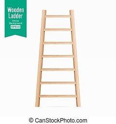 escada madeira, vector., isolado, branco, experiência., realístico, illustration.