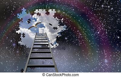 escada, para, a, céu, chumbos, em, dia