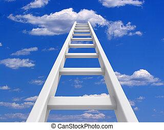 escada, para, céu