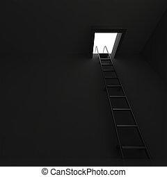 escada, quadrado, escuridão, alumínio, manhole