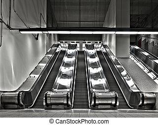 escada rolante, trabalhando, angle), conjuntos, (wide