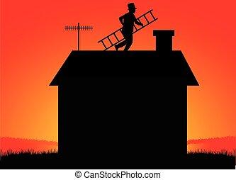 escada, varredura, chaminé, roof.