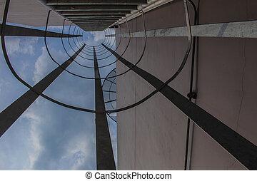 escada, vista, telhado, retorno