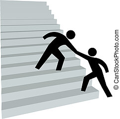 escadaria, ajuda, tampe cima, mão, ajudando, amigo