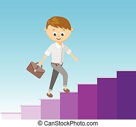 escadaria, apartamento, estilo, sucesso, carreira, concept., ilustração, vetorial