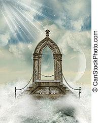 escadaria, arco, mar