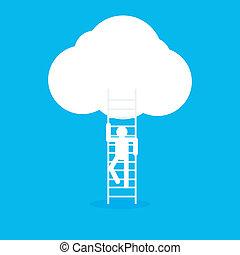 escadaria, céu, ícone