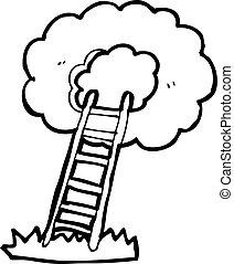 escadaria, céu, caricatura