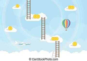 escadaria, céu