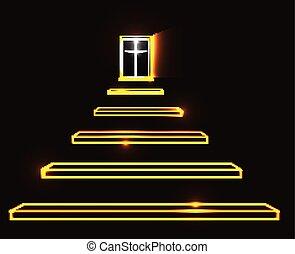 escadaria, céu, vetorial, ilustração