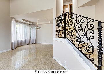 escadaria, casa, emtpy, mármore, r, pretas, ferro,...
