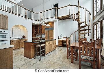 escadaria, chão, espiral, grande, segundo, cozinha