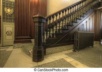 escadaria, dentro, histórico, corte judicial
