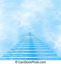 escadaria, deus, céu, guiando