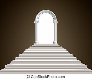 escadaria, e, arco