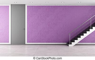 escadaria, em, um, vazio, roxo, lounge