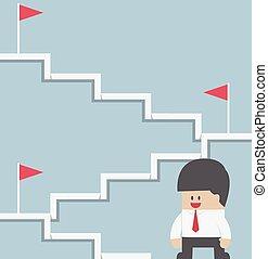 escadaria, escalando, alvo, homem negócios