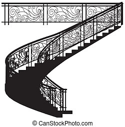 escadaria, espiral, cerca