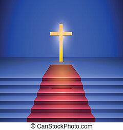 escadaria, ficar, stage., crucifixos, chumbos, tapete vermelho