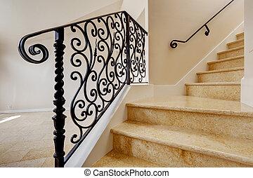 escadaria, forjado, pretas, ferro, trilhos, mármore
