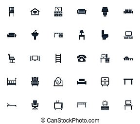 escadaria, jogo, furnishings, aparador, simples, icons.,...