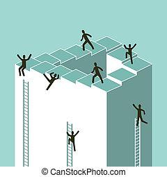 escadaria, negócio, sucesso