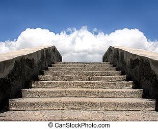 escadaria, pedra, céu