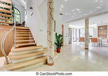 escadaria, residência, luxo