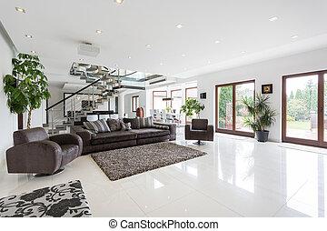 escadaria, sala de estar, espaçoso