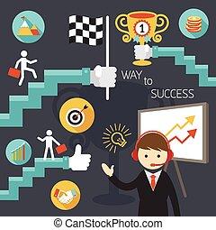 escadaria, sucesso, negócio