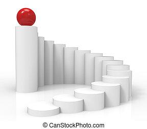 escadaria, sucesso, topo, 1º, prevalecer, mostra