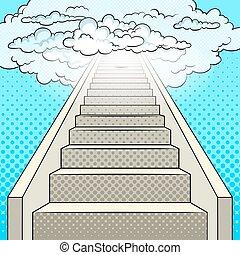 escadaria, vetorial, céu, arte, estouro