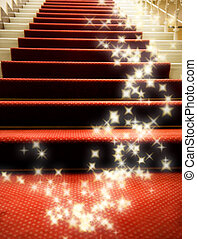escadas, coberto, com, tapete vermelho