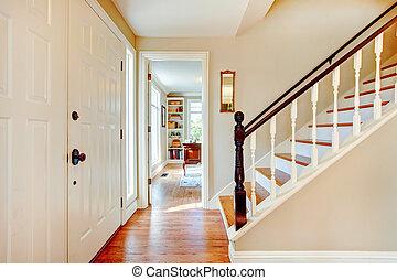escadas, corredor, cores, macio